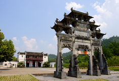 ancient memorial arch in hongcun Stock Photos
