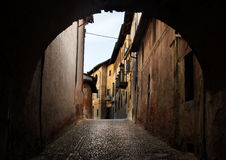 Ancient arch i. N saluzzo - north of italy Royalty Free Stock Photos
