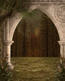 Mysterious gateway to the enchanted forest. Ancient arch in the middle of the fir forest – 3D illustration stock illustration