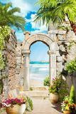 Digital fresco. Ancient arch. stock photo