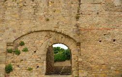 Ancient arched entrance gate. Carcassonne, France Royalty Free Stock Photos