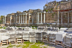 Ancient archeological site at Side, Turkey. Royalty Free Stock Photos