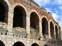 Ancient arches of the ancient Roman landmark building Royalty Free Stock Image