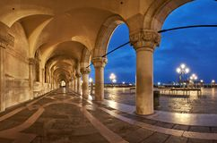 Ancient arches of Doge`s Palace St. Marc Square in Venice, Italy royalty free stock photos