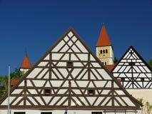 Ancient architecture. Village in Bavaria; carcass; framework; half timbered stock photos