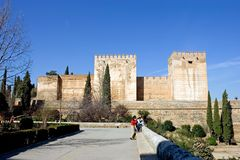 Ancient architecture in the Alhambra Palace in Spain Royalty Free Stock Photo