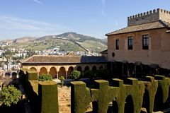 Ancient architecture in the Alhambra Palace in Spain Royalty Free Stock Photos