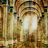 Ancient architecture background. Art background ancient architecture artistic toned picture in retro style Stock Images