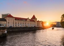 Ancient architecture of Berlin during sunset. royalty free stock photography