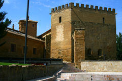 The ancient  architecture building in Huesca. Castle in Huesca, beautiful moorish architecture Stock Photo