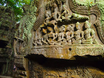 Ancient architecture of Cambodia, Bayon temple. The mural on the wall of the Bayon temple, in the temple complex Angkor in Cambodia, historical and cultural Stock Image