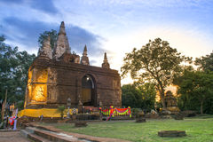 Ancient architecture in Chiangmai, Thailand.(Wat Jed Yod) Royalty Free Stock Images