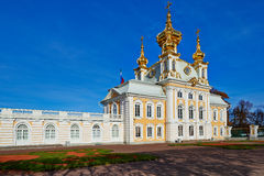 The ancient architecture of the city park of Peterhof. Stock Image