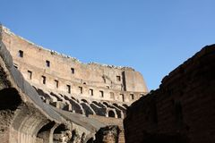 Ancient architecture Colosseum in Roma Italy. Day Royalty Free Stock Images
