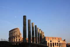 Ancient architecture Colosseum in Roma Italy. Day Stock Photography