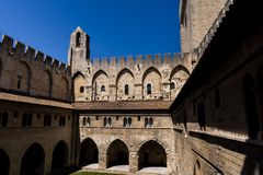 Ancient architecture of famous Palais des Papes. (Papal palace) in Avignon France stock images