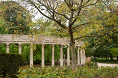 Ancient architecture in Monceau Park Stock Photos