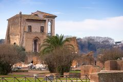 Ancient architecture on the Palatine hill in Rome, Italy. Palatino roman forum site old travel landscape history landmark historic building tourism culture royalty free stock photos