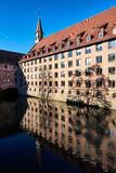 Ancient architecture and The Pegnitz river Stock Photos