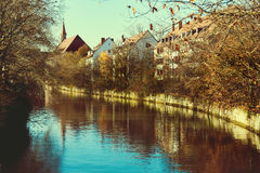 Ancient architecture and The Pegnitz river Royalty Free Stock Photography