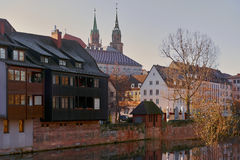 Ancient architecture and The Pegnitz river Royalty Free Stock Photos