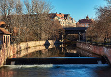 Ancient architecture and The Pegnitz river Royalty Free Stock Photo