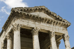 Ancient architecture in Pula, Croatia. Historic Roman temple of August in Pula, Croatia Royalty Free Stock Photography