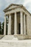 Ancient architecture in Pula, Croatia. Historic Roman temple of August in Pula, Croatia Stock Images