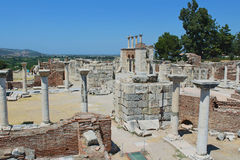 Ruins of st. Johns Basilica at Ayasuluk Hill in Turkey Stock Images