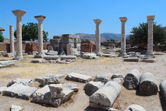 Ruins of st. Johns Basilica at Ayasuluk Hill in Turkey Stock Image