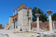 Ruins of st. Johns Basilica at Ayasuluk Hill in Turkey Royalty Free Stock Photography