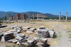 Ruins of st. Johns Basilica at Ayasuluk Hill in Turkey Stock Photo