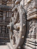 Ancient architecture and sculptures of Indian temp. Beauty of ancient architecture in India. Bullock cart wheel carved out of stone symbolizes a moving temple Royalty Free Stock Photos