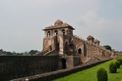 Ancient Architecture Ship Palace of Mandu. The Jahaz Mahal(Ship Palace) is situated in Royal Complex of Mandu. Iti is surrounded by two ponds and a garden stock images