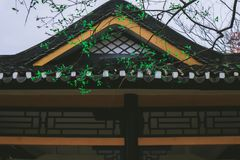 Ancient Architecture in Spring. Chinese ancient buildings in spring, Langxuan, eaves are symbols. Trees grow tender branches and leaves stock photography