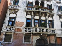 Ancient architecture of stone walls of Venice, Italy stock photos