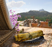 Ancient architecture with sunbed concept tourism vacation. Background Stock Images