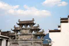 Ancient architecture. Under blue sky in Wuyuan, China Royalty Free Stock Photography