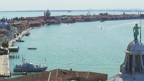 Ancient architecture of Venice from the top of Saint George monastery, Italy. Stock footage stock video