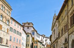 The ancient architectures of Perugia. Italy,Umbria,Perugia,view of Matteotti square Royalty Free Stock Images