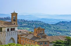 The ancient architectures of Perugia. Italy,Umbria,Perugia,view of the old city with the valley in the background Royalty Free Stock Image