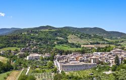 The ancient architectures of Spoleto. Italy,Umbria,Spoleto,the old city seen from the Delle Torri bridge Royalty Free Stock Image