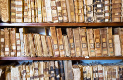 Ancient archived folders. Ancient folders of some centuries ago on bookshelf Stock Photography