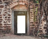 An ancient archway with light. Beam of the success back of the door ,an ancient archway stock photo