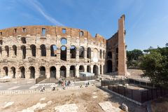 Ancient arena of gladiator Colosseum in city of Rome, Italy. ROME, ITALY - JUNE 24, 2017:  Ancient arena of gladiator Colosseum in city of Rome, Italy Royalty Free Stock Image