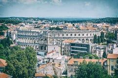 Ancient Arena in Pula, Istria, Croatia. Pula Arena - ancient amphitheater located in Pula, Istria, Croatia. Travel destination. Famous object. Analog photo stock photography