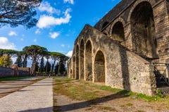 Ancient arena in the ruins of Pompeii. Italy landmark amphitheater stage vesuvius architecture building eruption heritage italian old roman stone tourism stock image