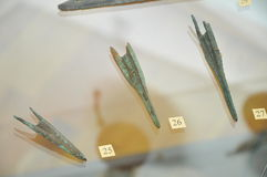 Ancient arrows archeology. Ancient arrows archaic made from bronze Royalty Free Stock Photo