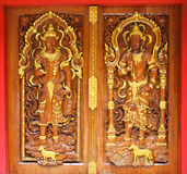 Ancient art pattern on the wooden door Royalty Free Stock Photos