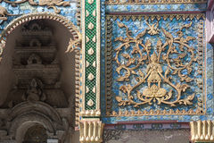 Ancient art at Thai church,Northern of Thailand. Stock Photography
